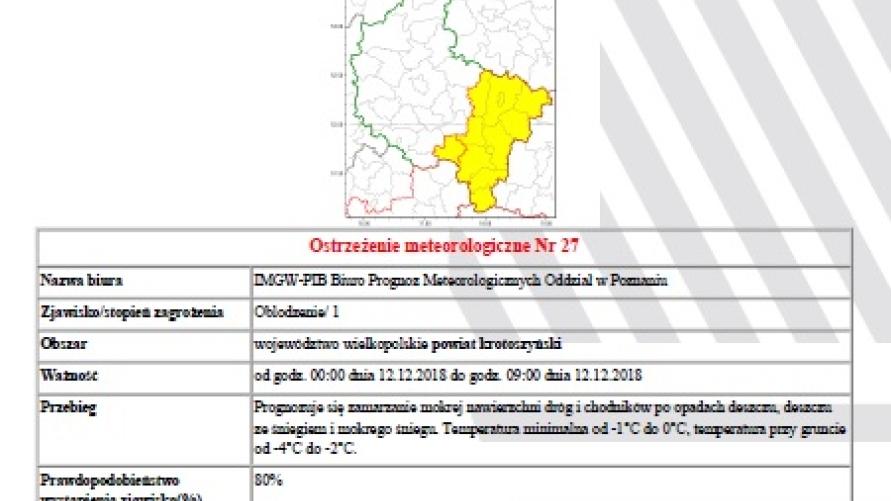 Ostrzeżenie meteorologiczne marznące opady drogi śliskie