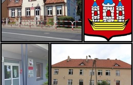 Wizerunek szkół do których został ogłoszony konkurs wraz z herbem Kobylina.